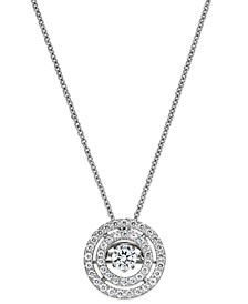 Diamond Double Circle Pendant Necklace in 14k White or Yellow Gold (3/8 ct. t.w.)