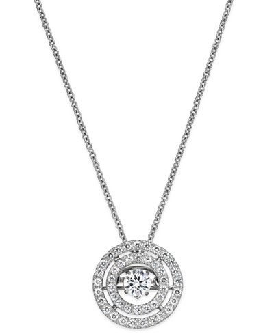 Twinkling diamond star diamond double circle pendant necklace in twinkling diamond star diamond double circle pendant necklace in 14k white or yellow gold aloadofball
