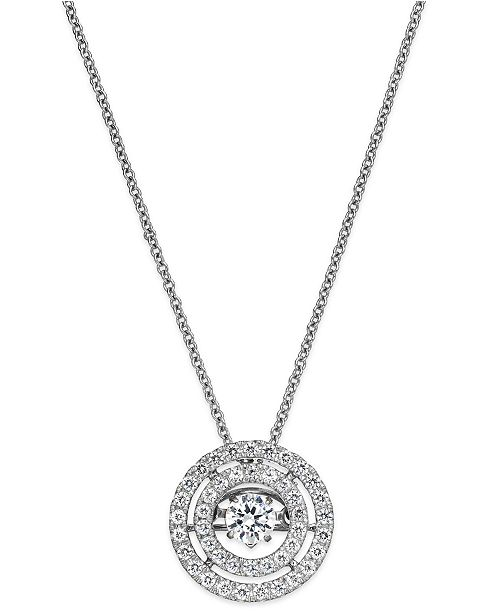 Twinkling diamond star diamond double circle pendant necklace in 14k main image aloadofball Choice Image
