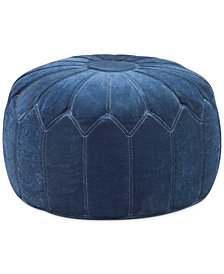 Georgia Fabric Accent Pouf, Quick Ship