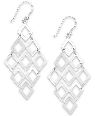 Giani Bernini Diamond-Shaped Chandelier Earrings in Sterling Silver, Created for Macy's Jewelry Watches - Fashion Jewelry - Macy's