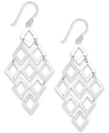 Giani Bernini Diamond-Shaped Chandelier Earrings in Sterling Silver, Created for Macy's