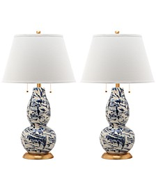 Set of 2 Color Swirls Glass Table Lamp
