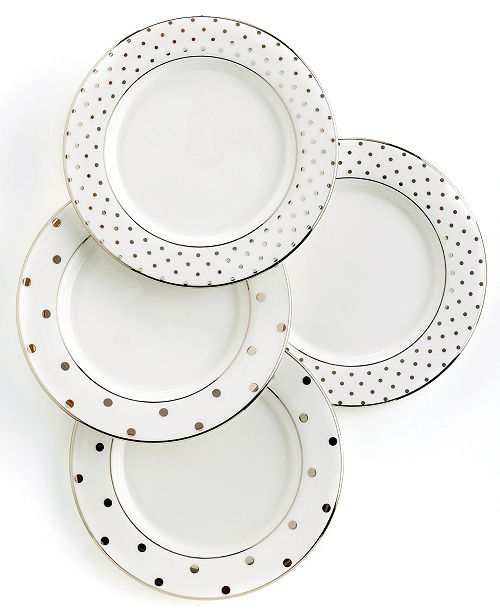 kate spade new york Set Of 4 Larabee Road Polka Dot Tidbit Plates