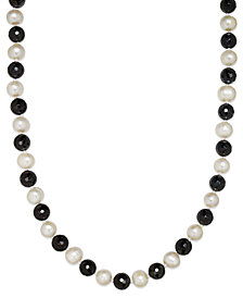 Cultured Freshwater White Pearl (11mm) and Onyx (10mm) Necklace