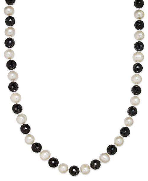 Macy's Cultured Freshwater White Pearl (11mm) and Onyx (10mm) Necklace
