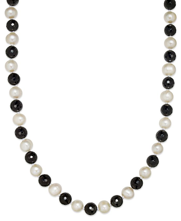 Macy's - Cultured Freshwater White Pearl (11mm) and Onyx (10mm) Necklace