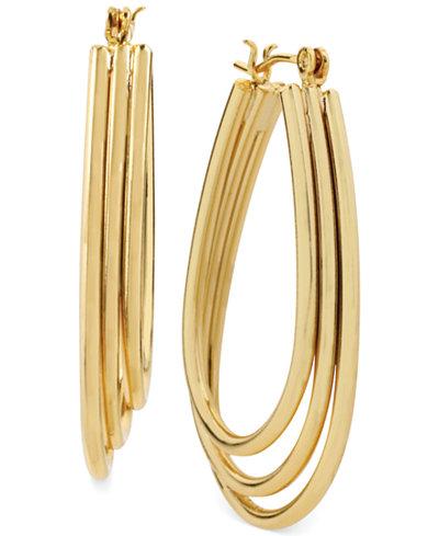 Hint of Gold Three-Row Teardrop Hoop Earrings in 14k Gold-Plated Metal, 35mm x 25mm