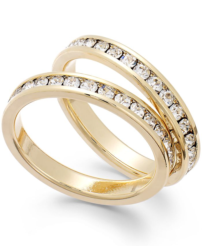 Charter Club - Gold-Tone Glass Stone Ring Duo