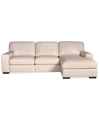 Fabrizio Leather 3 Piece Chaise Sectional Sofa Furniture Macy s