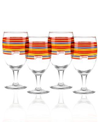 Scarlet Stripe Set of 4 Goblets