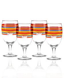 Fiesta Scarlet Stripe Set of 4 Goblets