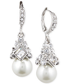Givenchy Imitation Rhodium Crystal and Imitation Pearl Small Drop Earring