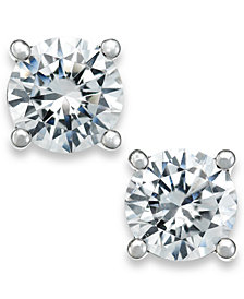 X3 Certified Diamond Stud Earrings in 18k White Gold (1 ct. t.w.), Created for Macy's