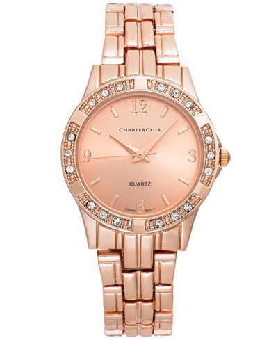 Charter Club Women's Rose Gold-Tone Bracelet Watch 30mm ...