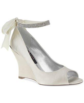 Nina Emma Satin Rhinestone Ankle Strap Peep-Toe Wedges