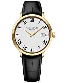 Men's Swiss Toccata Black Leather Strap Watch 39mm 5488-PC-00300