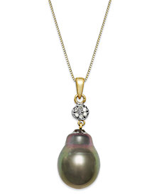 Baroque Tahitian Pearl (12 mm) and Diamond Accent Pendant Necklace in 14k Gold