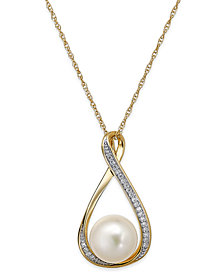 "Cultured Freshwater Pearl (9mm) and Diamond Accent Pendant 18"" Necklace in 14k Gold"