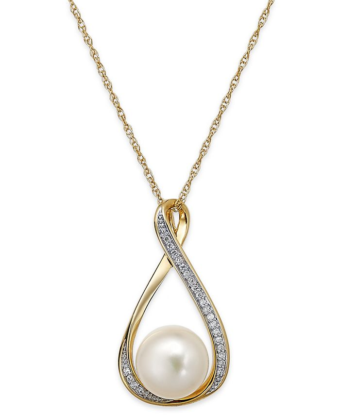 Macy's - Cultured Freshwater Pearl (9mm) and Diamond Accent Pendant Necklace in 14k Gold
