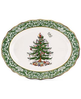 Spode Christmas Tree Embossed Large Platter Serveware