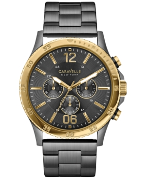 Caravelle New York by Bulova Men's Chronograph Gunmetal-Tone Stainless Steel Bracelet Watch 44mm 45A119