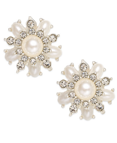 Charter Club Silver-Tone Imitation Pearl Cluster Clip-On Earrings