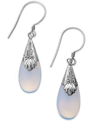 Jody Coyote Sterling Silver Earrings, Glass Teardrop