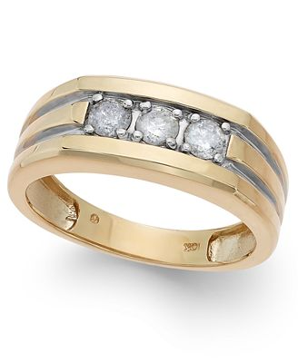 Men s Diamond 1 2 ct t w Ring in 10k Gold Rings Jewelry