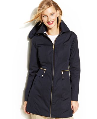 MICHAEL Michael Kors Zippered Hooded Raincoat - Coats - Women - Macy&39s