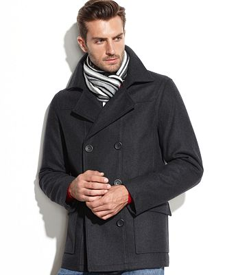 Buffalo David Bitton Wool-Blend Pea Coat with Scarf - Coats ...