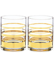 kate spade new york Hampton Street Set of 2 Double Old Fashion Glasses