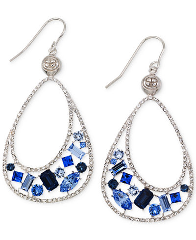 SIS by Simone I Smith Blue and Clear Crystal Teardrop Earrings in Platinum over Sterling Silver