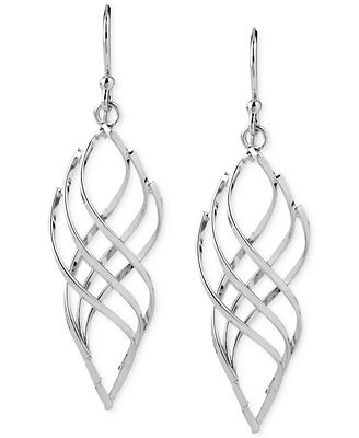 Touch of Silver Swirled Drop Earrings in Silver-Plated Metal