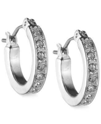 Image of Nine West Silver-Tone Pave Crystal Hoop Earrings