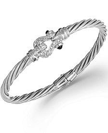 Diamond Latch Hinge Bangle Bracelet in Sterling Silver (1/4 ct. t.w.)