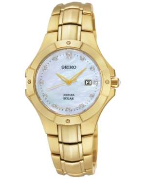 Seiko Women's Solar Diamond Accent Gold-Tone Stainless Steel
