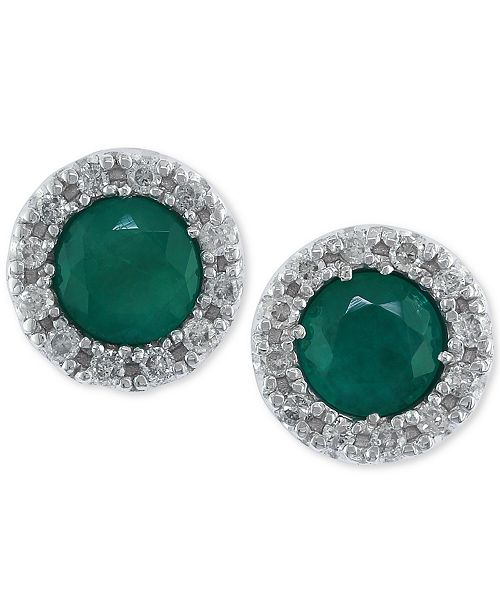 EFFY Collection Brasilica by EFFY® Emerald (3/4 ct. t.w.) and Diamond (1/8 ct. t.w.) Stud Earrings in 14k White Gold