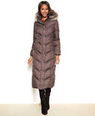 London Fog Hooded Faux-Fur-Trim Down Maxi Puffer Coat - Coats ...