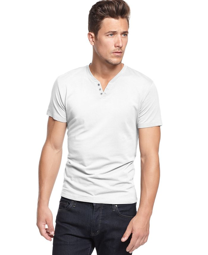 Alfani - Solid Split Crew-Neck T-Shirt
