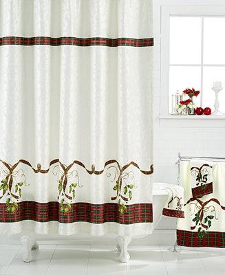 Closeout Lenox Holiday Nouveau Shower Curtain Bathroom Accessories Bed Bath Macy 39 S