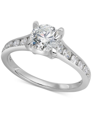 X3 Certified Diamond Channel Engagement Ring in 18k White Gold (1-1/2 ct. t.w.)