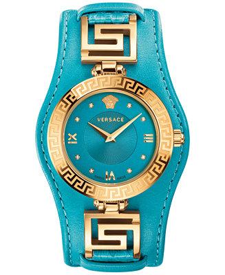 Versace Women S Swiss Diamond Accent V Signature Turquoise