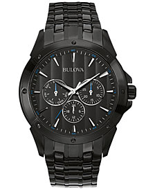 Bulova Men's Black Ion-Plated Stainless Steel Bracelet Watch 43mm 98C121