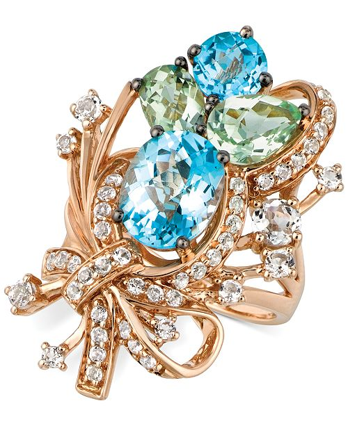 Le Vian Crazy Collection® Blue Topaz, White Topaz and Green Quartz Cluster Ring in 14k Rose Gold (7 ct. t.w.), Created for Macy's