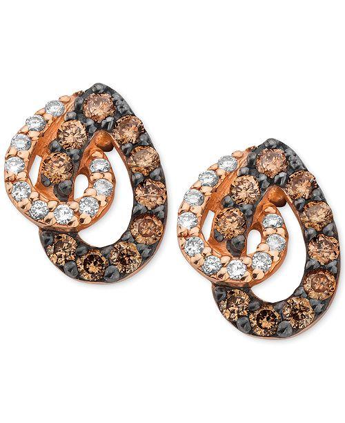 Le Vian White and Chocolate Diamond Teardrop Earrings in 14k Rose Gold (1/2 ct. t.w.)
