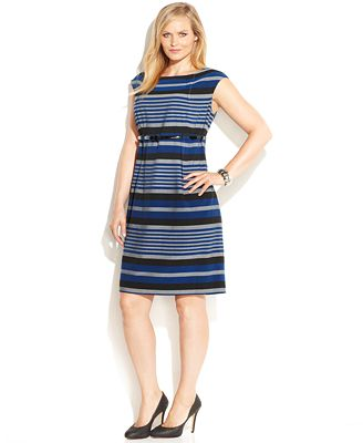 calvin klein plus size striped belted sheath dress