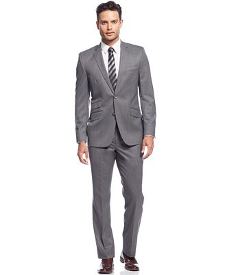 Kenneth Cole New York Grey Solid Slim-Fit Suit - Suits & Suit ...