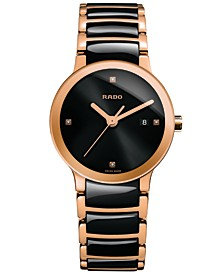 Women's Swiss Centrix Diamond Accent Black High-Tech Ceramic and Rose Gold-Tone PVD Stainless Steel Bracelet Watch 28mm R30555712