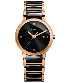 Rado Women's Swiss Centrix Diamond Accent Black High-Tech Ceramic and Rose Gold-Tone PVD Stainless Steel Bracelet Watch 28mm R30555712